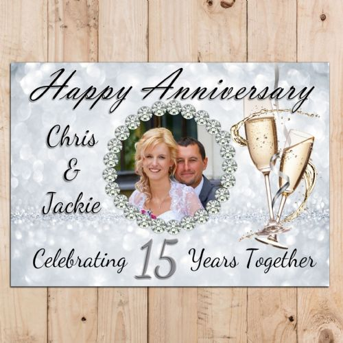 Personalised 15th Crystal Wedding Anniversary Party PHOTO Banner Poster N98